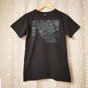 WOOT start night binary black short small t-shirt